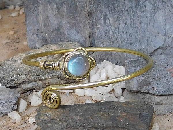 Labradorite Lotus Spiral Bangle by Avashy