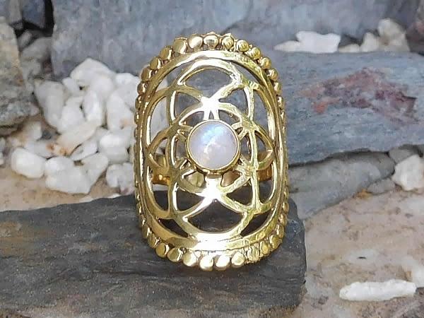 Rainbow Moonstone Seed of Life Ring by Avashy