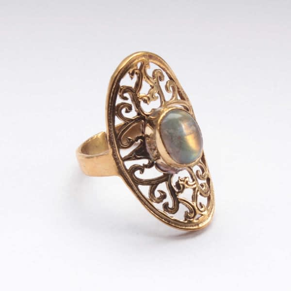 Labradorite Oval Lattice Ring