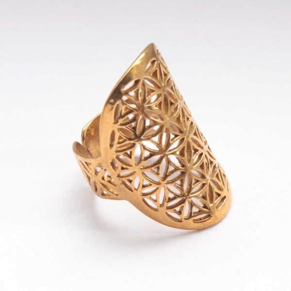 Flower of Life Brass Ring Side View