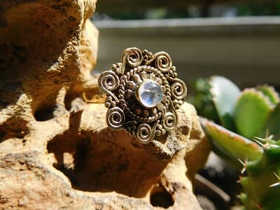 Rainbow Moonstone Spirals Mandala Ring by Avashy