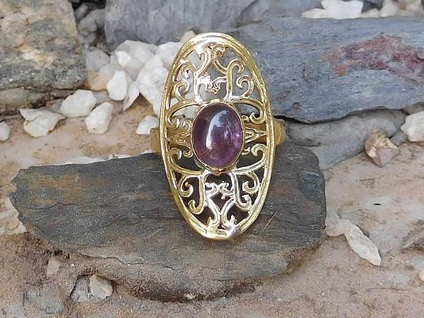 Amethyst Oval Lattice Ring by Avashy