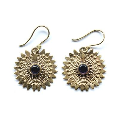 Amethsyt Sunflower Earrings