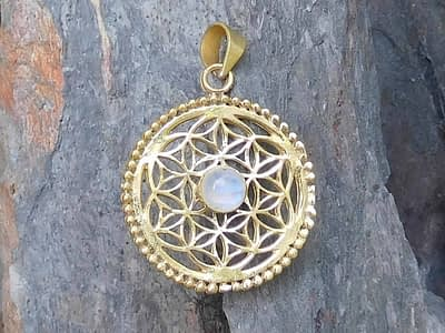 Rainbow Moonstone Flower of Life Pendant by Avashy