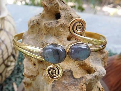 Labradorite Twin Stone Spirals Bangle Blue by Avashy