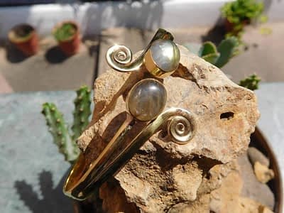 Labradorite Twin Stone Spirals Bangle Green by Avashy