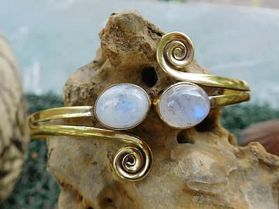 Rainbow Moonstone Spirals Bangle by Avashy