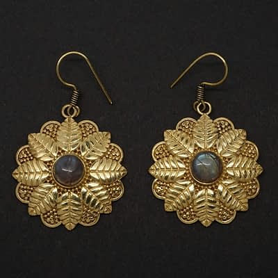 labradorite earrings brass leaf mandala