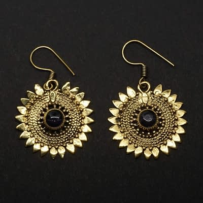 amethyst earrings sunflower design folk art