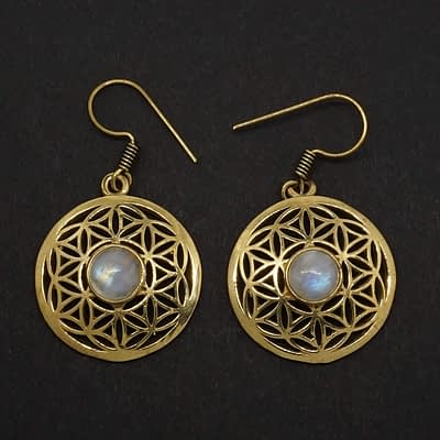 rainbow moonstone earrings flower of life
