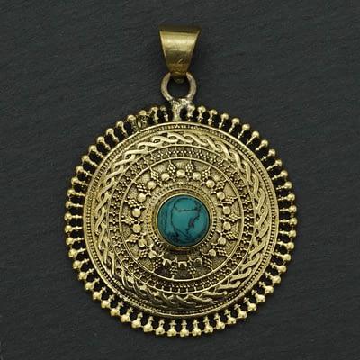 turquoise mandala pendant