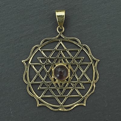 amethyst shri yantra pendant