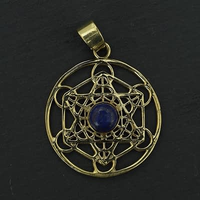 lapis lazuli shatkona pendant