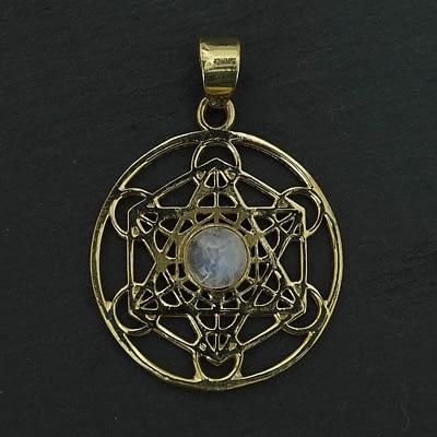 rainbow moonstone shatkona pendant