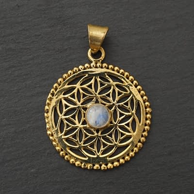 rainbow moonstone flower of life pendant