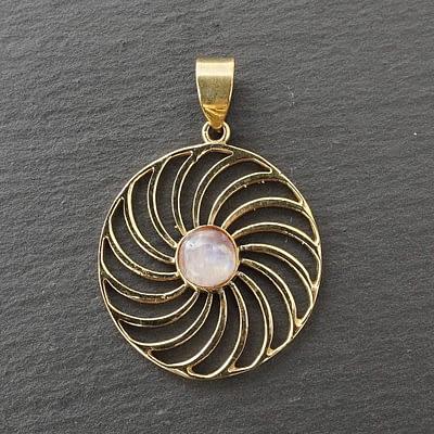 rainbow moonstone spiral mandala