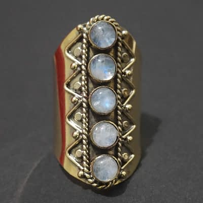 rainbow moonstone finger sleeve ring