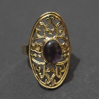 amethyst ring folk art mandala