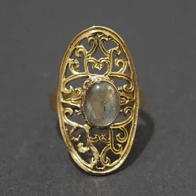 labradorite ring folk art mandala