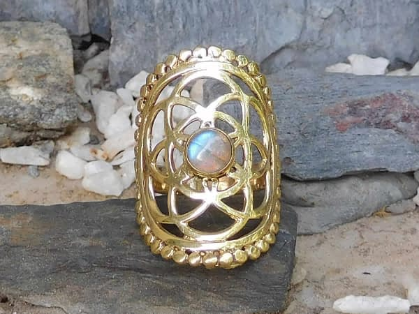 Labradorite Seed of Life Ring by Avashy