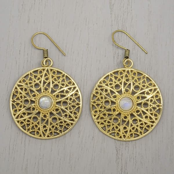 rainbow moonstone earrings filigree flower mandala