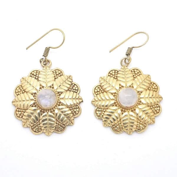 rainbow moonstone earrings leaf mandala