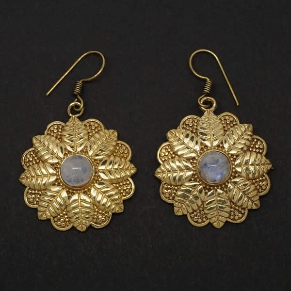 rainbow moonstone earrings brass leaf mandala