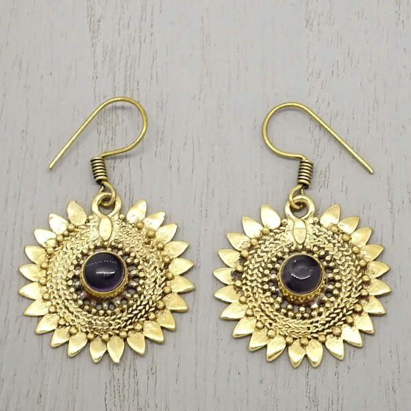 amethyst earrings sunflower earrings