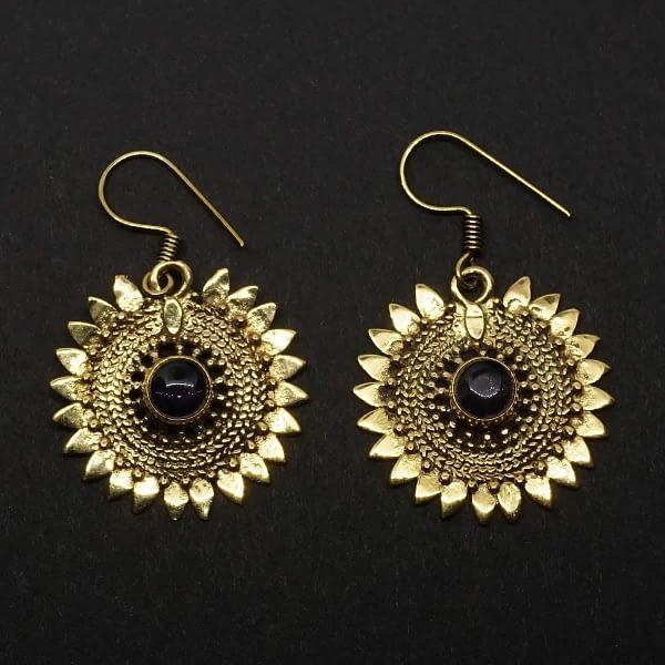 amethyst earrings sunflower design folk art