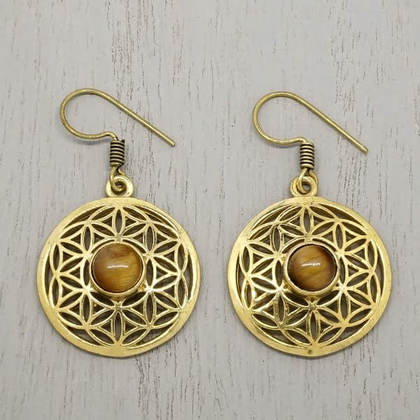 tigers eye earrings flower of life