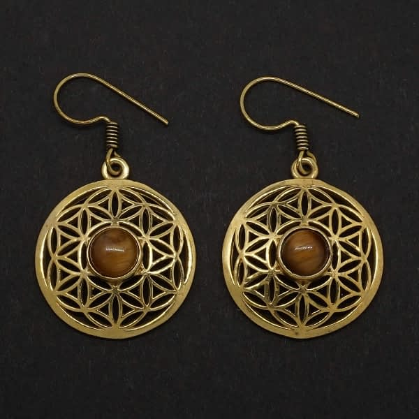 tiger eye earrings flower of life