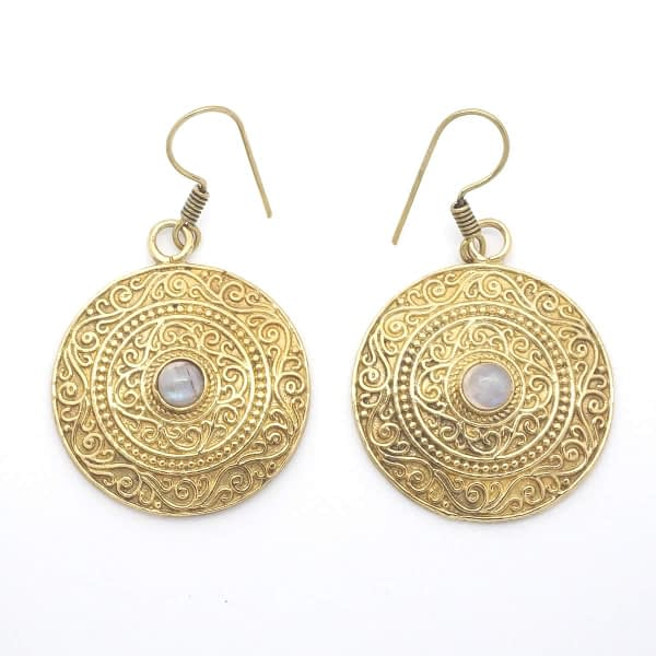 rainbow moonstone earrings indian mandala