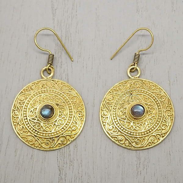 labradorite earrings indian mandala