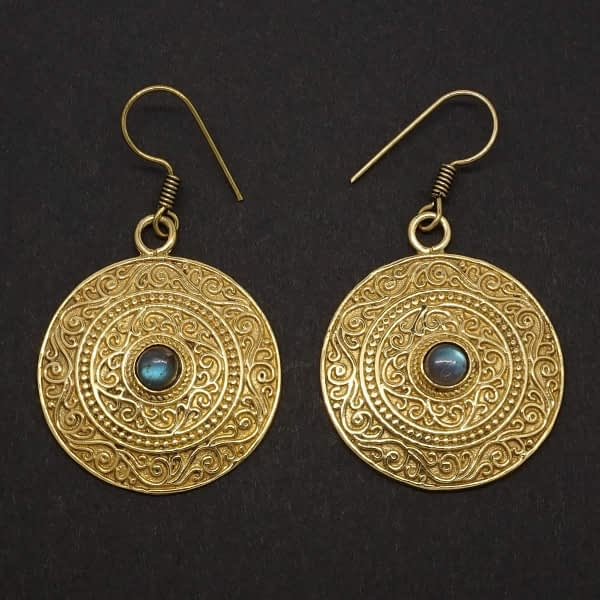 labradorite earrings indian mandala