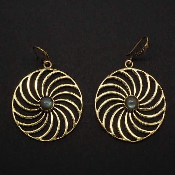 labradorite earrings spiral mandala