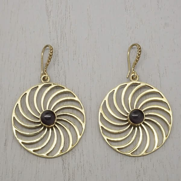 amethyst earrings spiral mandala
