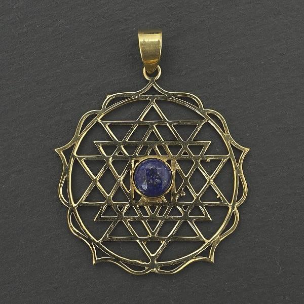 lapis lazuli shri yantra pendant