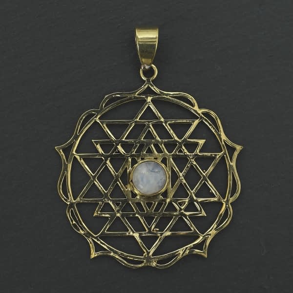 rainbow moonstone shri yantra pendant