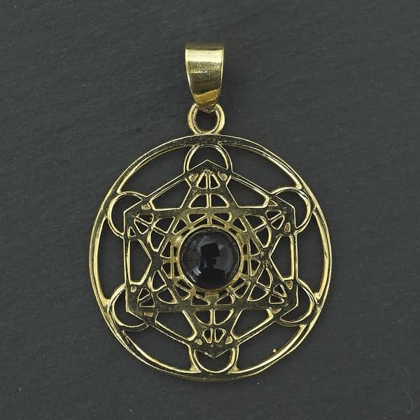 amethyst shatkona pendant