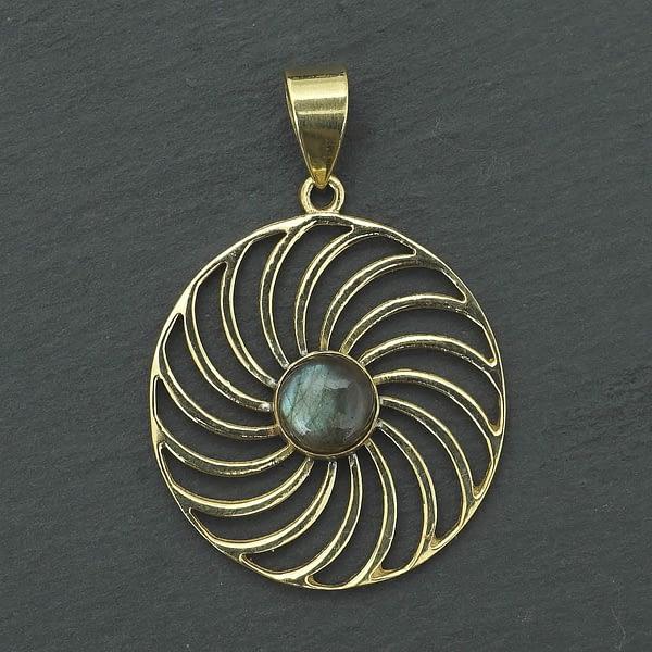 labradorite pendant spiral mandala