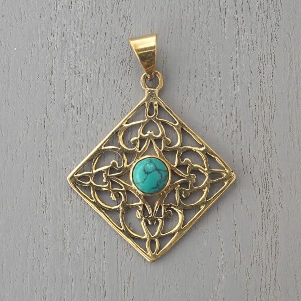 Turquoise pendant Indian Mandala