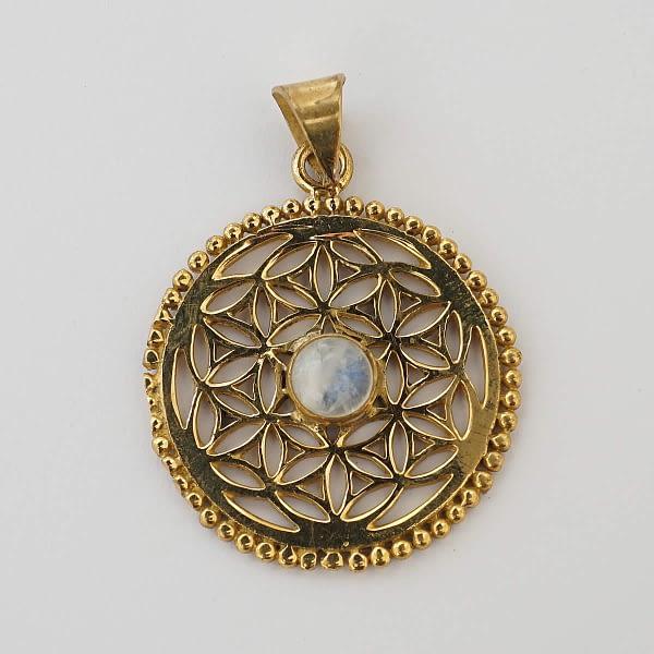 rainbow moonstone flower of life pendant