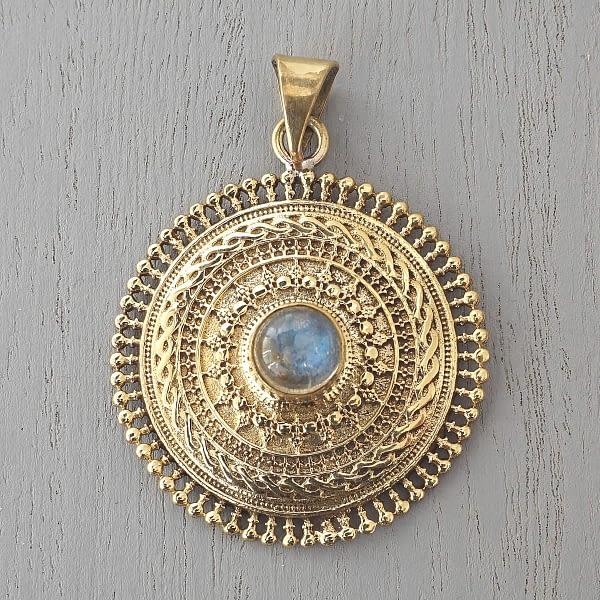labradorite mandala pendant