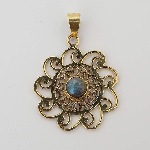 labradorite pendant flower of life spirals