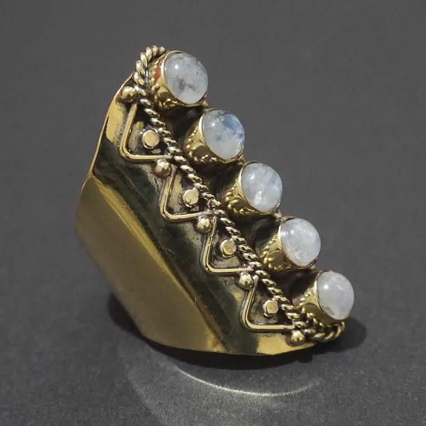 rainbow moonstone finger sleeve ring