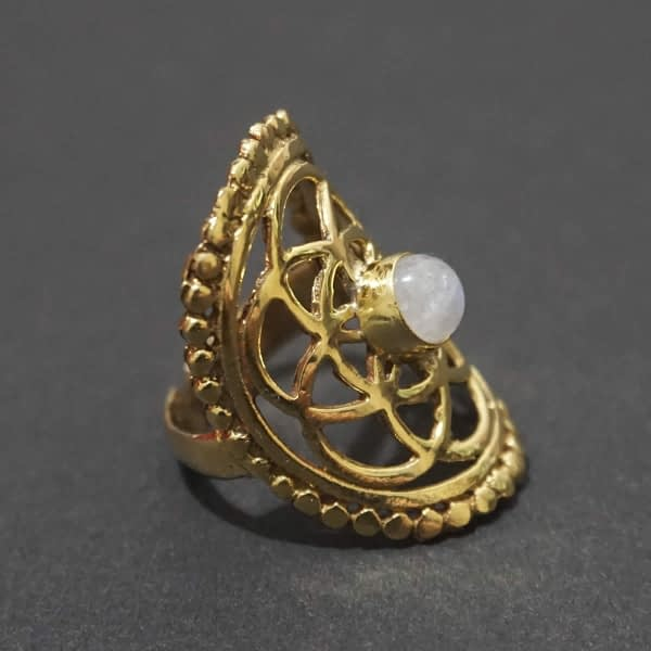 rainbow moonstone seed of life ring