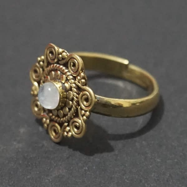 rainbow moonstone ring spirals mandala